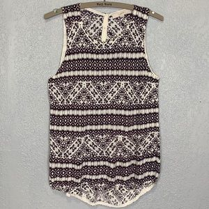 LOFT boho Aztec print soft knit sleeveless blouse